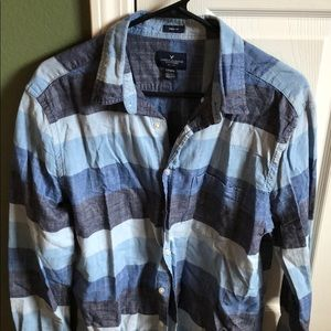 American Eagle Plaid Shirt - LT - Blue - nice!